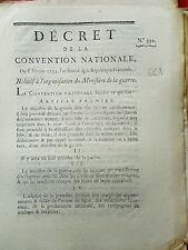 661 LOI & DECRET CONVENTION NATIONALE 1793 ORGANISATION MINISTÈRE DE LA GUERRE