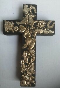 """Mexican Folk Art Milagros Cross Covered with Charms On Wood Cross 6 1/2"""" x 4"""""""