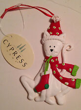 Cypress White Kitty Cat In Santa Hat Christmas Ornament  Tara Reed Designs