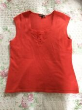 Heavenly Soft Cashmere/ Silk JAEGER Sleeveless Jumper-size 12/14. Coral VGC