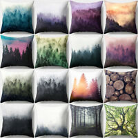 Qu_ JN_ 18 Inch Forest Tree Throw Pillow Case Cushion Cover Home Sofa Room Decor