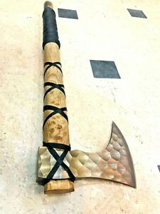 MDM ETCHED BLADE VIKING AXE, FOREST AXE, WRAPPED ASH WOOD HANDLE, VINTAGE AXE