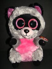 "NWT TY Beanie Boos 9"" ROCCO Raccoon Medium Pink Gray Plush Boo 2014 Sparkly NEW"