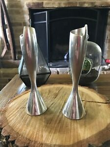 "Nambe Spiral Candlesticks 7"" (Pair) #6301 Smith Celentano 2000"