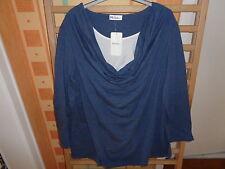 Ulla Popken Shirt  Überwurf Lagenlook Wasserfall, blau weiß , Gr. 50/52  NEU