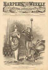 Political Cartoon, Spain Accedes To Our Demands, Vintage 1873 Antique Print,