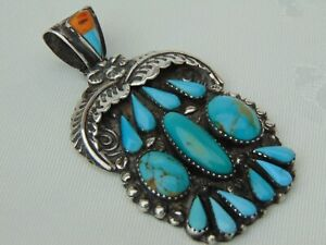 VINTAGE NAVAJO OLD PAWN ZUNI SILVER TURQUOISE PENDANT STAMPED A Z STERLING