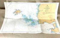 1985 Vintage Marittimo Mappa Francia Goulet De Brest D Ouessant Le Quattro Carta