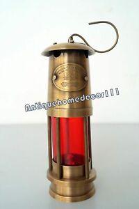 "7"" Minor Oil RED Lamp Nautical Brass Maritime Mining Ship Lantern Boat Light"