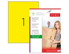TANEX TW-2000 Versandetiketten gelb, 210 x 297 mm, 25 Etiketten, 25 Blatt