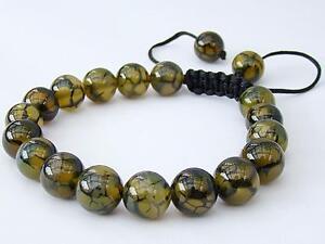 Mens Gemstone Beaded Macrame bracelet all 10mm Natural Dragon Veins Agate Beads