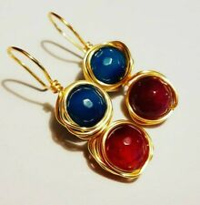 Gold Filled  Dangle Earrings Blue and pink Agate,  New fashion