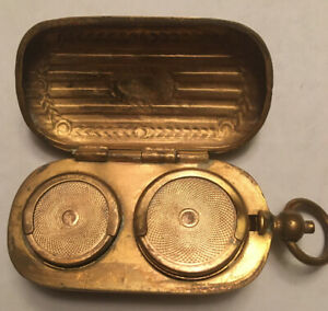 ANTIQUE METAL COIN HOLDER SOVEREIGN CASE BRASS COLOR