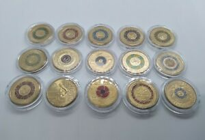 $2 Dollar Coloured Coins x 15 aUNC        LOT 1 includes Anzac and Olympic coins