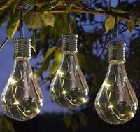 4 Solar Powered Hanging Light Bulbs Solar Garden Lights Clear Garden Christmas