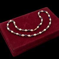 Antique Vintage Art Deco 14k Gold Chinese Cloisonne Enamel Pearl Necklace 17.5g