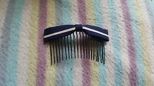 New Cute Korean Style Navy Blue Bow with Stripes Hair Comb Slides/Hair Accessory