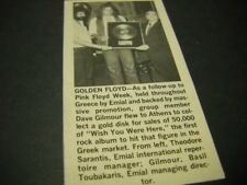PINK FLOYD David Gilmour collects Gold in Greece 1978 music biz promo pic/text