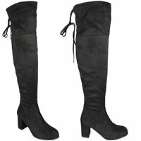 Womens Over The Knee Boots Ladies Black Thigh High Block Heel Lace Up Shoes Size