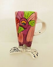 Blue Sky Clayworks - 3 Legged Coffee Tea Mug Cup - Tropical Bird Hand Painted