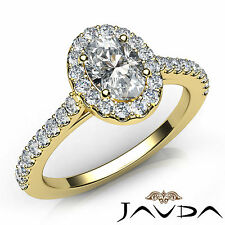 Oval Diamond U Cut Prong Set Engagement Ring GIA G SI1 18k Yellow Gold 1.21Ct