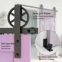 Sliding Barn Door Hardware Kit 4FT-20FT Closet Hang Rail Adjustable Floor Guide