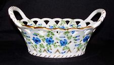 VINTAGE ANDREA BY SADEK OVAL PIERCED CHINA TRINKET BASKET CANDY DISH-BLUE FLOWER