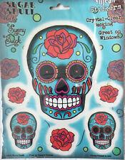 "Sugar Skull Sticker~""ROSE SUGAR SKULL"" DecaL~4"" X 5""~Five 1.5"" Decals~FREE SHIP"