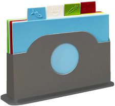 More details for 5 piece plastic chopping board set colour coded index boards food cutting mats