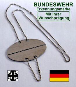 """Deutsche Bundeswehr BUND Erkennungsmarke """"GE"""" - Mit IHRER Wunschprägung DogTag"""