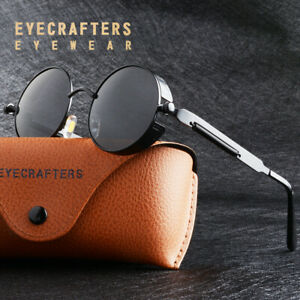 Retro Gothic Steampunk Inspired Metal Circle Coating Polarized Round Sunglasses