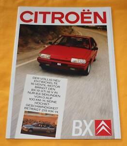 Citroen BX 1987 Prospekt Brochure Depliant Catalogue Catalog Prospetto GTI 16V