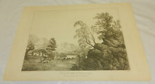 1810 Antique Print/VIEW ON THE BANKS OF CONISTON WATER/CUMBERLAND, ENGLAND