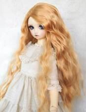 "6-7"" 1/6 BJD Long Brighten Mellow Cream Light Auburn Curly Wavy Wig Doll Hair MK"