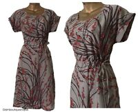 BN LADIES WHITE STUFF GREY RED BERRY PRINT VISCOSE SUMMER TEA DRESS TUNIC S 8-18