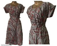 BN LADIES WHITE STUFF GREY RED BERRY PRINT VISCOSE SUMMER TEA DRESS TUNIC S 8-18