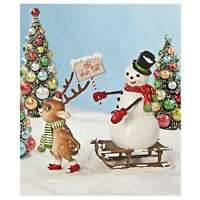 Bethany Lowe Snowman Reindeer Sled Figurine Christmas Retro Vintage Style Decor