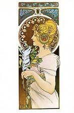 """Alphonse Mucha 1976 Authentic VINTAGE art nouveau stampa """"La Plume"""" LIBRO Piastra"""