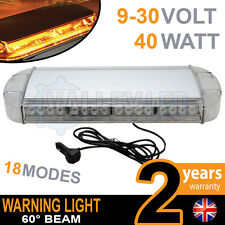600MM 60CM MAGNETIC LED AMBER LIGHT BAR STROBE BEACON RECOVERY VEHICLES 40W