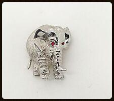 Handmade  Silver Elephant Brooch & Red Rubies