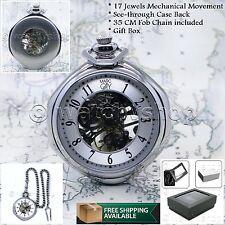 Mechanical Silver Pocket Watch Large 49 Mm Men WINDING Skeleton Fob Chain P14