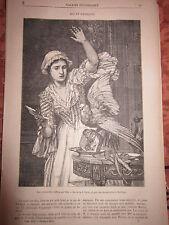 Article de presse Gravure 1875 - Ara et Soubrette d'après Villa