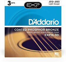 D'Addario EXP16-3D Phosphor Bronze Guitar Strings  3 sets UPC 019954255732