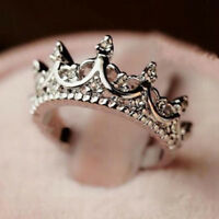 Fashion Princess Women Silver Rhinestone Crown Ring Size 5 6 7 8 New