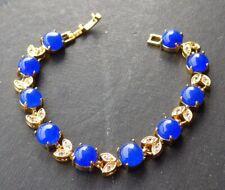 Yellow Gold Plate Blue JADE Circle Bead Bangle Bracelet Diamond Imitation 320781