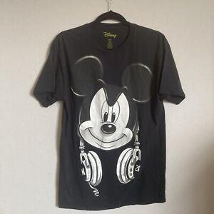 Vintage Disney T Shirt Mickey Mouse 38/40 M Black Headphones Jerry Leigh