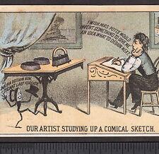 Mrs Potts Sad Iron Artist Comic 1800s Hoitt & Rugg Boston Advertising Trade Card