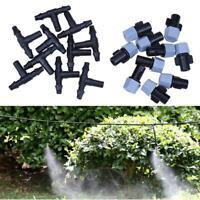 Garden Spray Sprinkler Heads Misting Watering Irrigation 10 Nozzle+10 Tee Joint