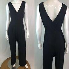 Cache Women's Medium Black Stretchy Draped Surplice V-Neck Pleated Jumpsuit