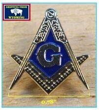 "Large Masonic Square & Compass Lapel Pin with enamel G - 1"" x 0.78"""